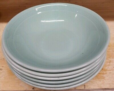 6  X  Woods Ware -  Beryl -  Green  -  Cereal/Fruit Bowls - Wwii