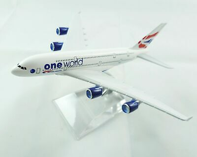 16cm Airbus A380 BA British Airways One World Metal Desk Aircraft Plane Model UK