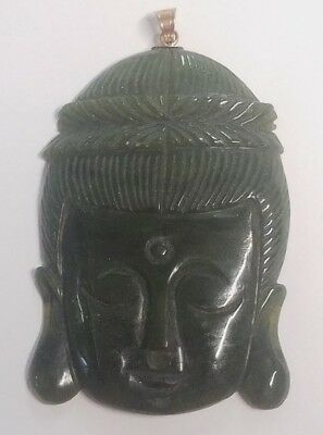 "Early 2.75"" Jade Carving of Kwan Yen Buddah Oriental Woman Face (*1l 11)"