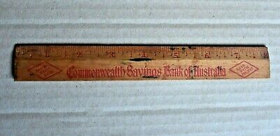 Old Wooden Commonwealth Savings Bank Of Australia 8 Inch Advertising Ruler