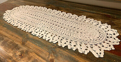 """Vintage Ecru Ivory Cotton Lace Doily Table Runner 38"""" x 13"""""""