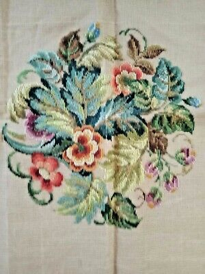 Queen Adelaide Tramme Tapestry canvas Vintage Flowers design plus threads