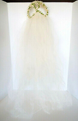 Antique Bridal Veil Shirley Lipton Original 826 Ivory Tulle Floral Juliet Style