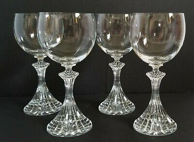 Elegant Crystal Glass Coupe Bowl Champagne Wine Glass With Carved Stem Set Of 4