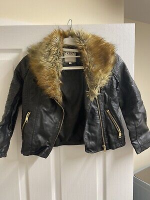 M&S Girls Black Mock Leather Coat With Detachable Fur Collar - Age: 7-8 Years