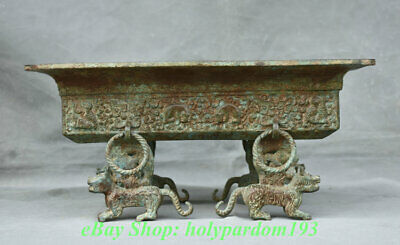 "13"" Ancient China Bronze Ware Dynasty 4 Beast Legs Drinking Vessel Plate"