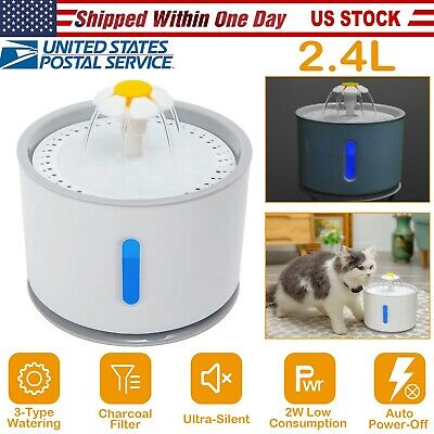 2.4L Automatic Pet Water Fountain/Filter Cat Dog Water Dispenser LED Water Level