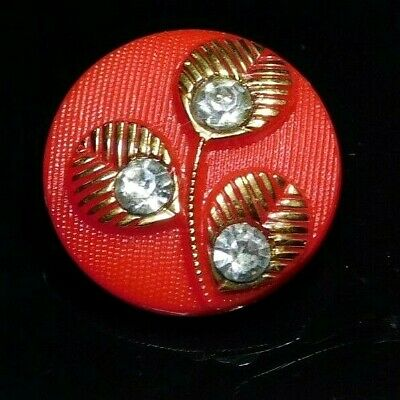 Antique vTG BUTTON Red Glass w 3 Leaves & Paste Stones NICE!  I