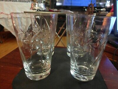 Pinwheel Design Set of 4 Beautiful Crystal Glasses 5.5 Tall
