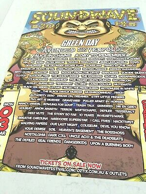 Soundwave 2014 With Green Day, Alice In Chains Tour Concert, Gig Poster Original