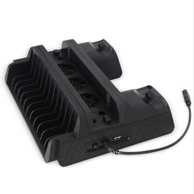 Multifunction PS4/Slim/PRO Vertical Stand with Cooling Fan Cooler Dual Cont X4D7