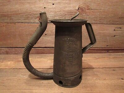 Vintage Huffman Oil Can With Spout, 1/2 gallon, Gas Station, Oil Collectable