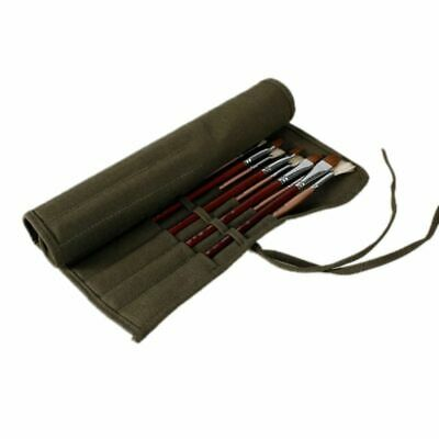Watercolor Drawing Pen Brush Bag Roll Up Canvas Case Holder Pouch