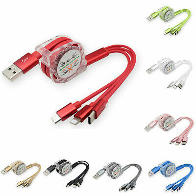 2.4A Multi 3 in 1 Retractable Micro Type C Lightning USB Charger Charging Cable