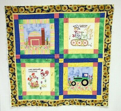 """Farmer Brown Quilted Embroidered Chickens Tractor Wall Hanging Unfinished 28"""""""