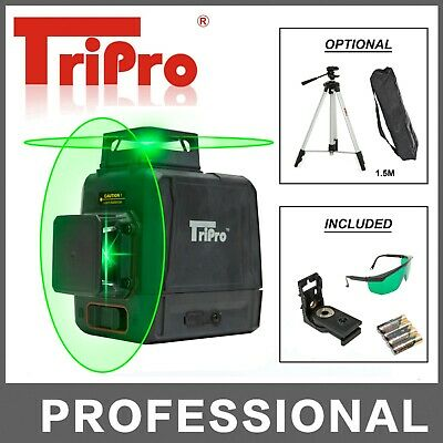 3D 2X 360° Plane 8 Line Self Auto Leveling Rotary Green Laser Beam Level Tripod