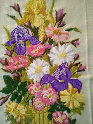 Amazing Unused Basket Mixed Flowers/ Iris Vintage Completed Crewel Picture/panel