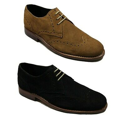 Lucini Mens Suede Leather Brogues Lace Up Boots Smart Party Casual Desert Shoes
