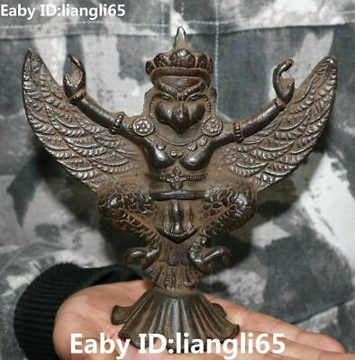 Old Tibet Pure Bronze Buddhism Redpoll Winged Garuda Bird Eagle Buddha Statue
