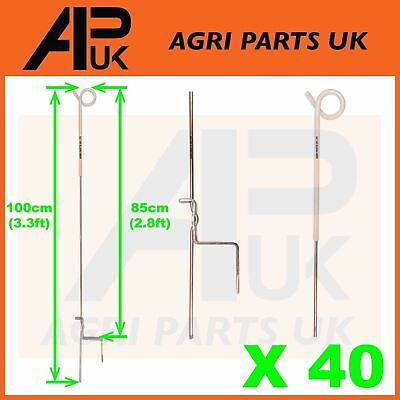 40x Electric Fence Pigtail Posts Stakes Steel 3ft Poly wire rope tape Insulators
