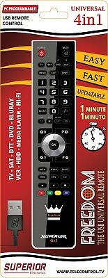 Freedom 4:1 universal remote control programmable by PC via USB for TV SAT DTT