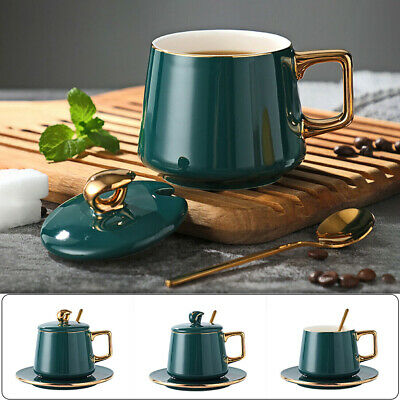 Green Glaze Ceramic Coffee Cup Set with Lid Saucer and Spoon Porcelain Tea Mug