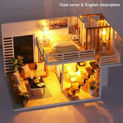 DIY 3D Wooden LED Dollhouse Miniature Furniture Doll House Kit Toys for Kids New