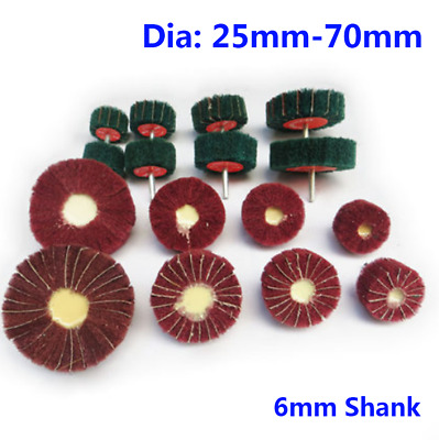 6mm Shank Nylon Fiber Wheel Polishing Sanding Grinding Flap Wheel Dia 25mm-70mm