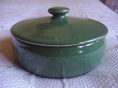 Shabby chic ~ small lidded green dish for flower arrangements.