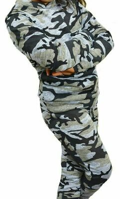 9-10 Yr Girls Camouflage Print 2-Piece Lounge Wear Tracksuit Jogging Bottoms Top