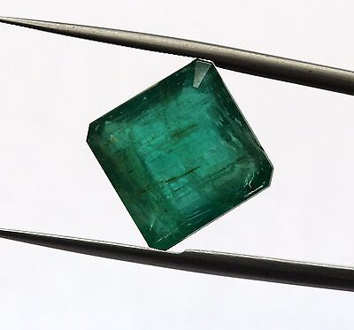 7.09 Ct Natural Emerald Top Grade Loose Gem Rectangle Cut Zambian Green Color