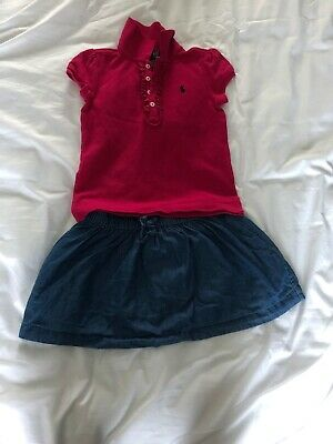Girls Ralph Lauren T Shirt And Denim Skirt Age 4