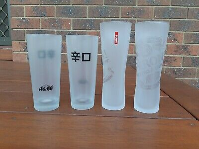 2 x new 300ml frosted Peroni & 2 x new 300ml Asahi frosted beer glasses