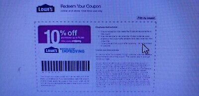 (20) Twenty Lowes coupons REAL 10% off up to $500 exp 12/31/2019 SCAN IN-STORE !