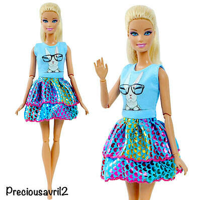 New Barbie doll clothes outfit princess wedding gown blue patterned dress