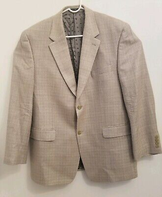 Ralph Lauren Men's Sz 43R 100% Silk Tweed 2 Button Suit Jacket Blazer Khaki Tan