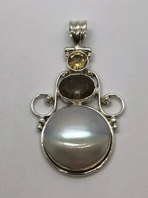 Sterling Silver Deluxe Blister Pearl Amethyst Citrine Hinged Pendant. Free  S&H