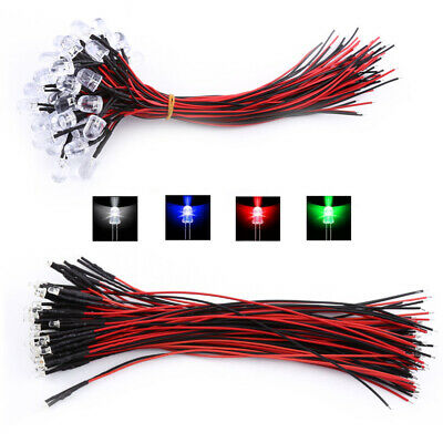 10pcs DC12V 5mm Pre Wired LED Light Emitting Diode Clear White Red Colorful Lamp