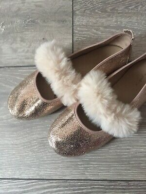Zara Girls Rose Gold And Fur Shoes Size 33