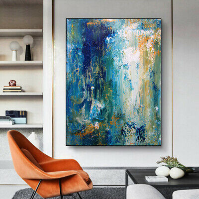 YA1448# Home decor 100% Hand-painted abstract oil painting on canvas Blue ocean