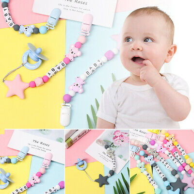 Chew Toy Cute Bear Baby Teething Soother Pacifier Clip Beaded Pacifiers Chain