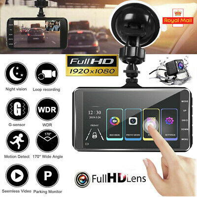 4'' HD 1080P Dual Lens Car DVR Touching Front and Rear Camera Dash Cam Recorder
