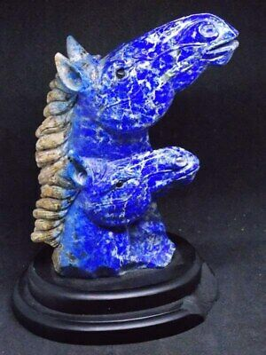 Antique Natural Lapis Lazuli Quartz Crystal Hand Carved Horse Carving, big