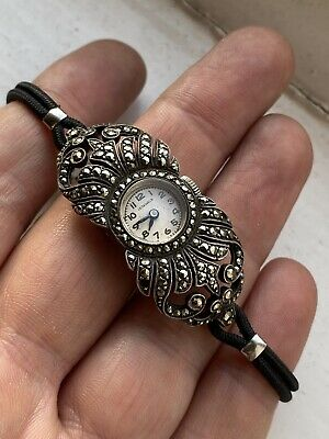 Art Deco Antique Silver Marcasite Ladies Cocktail Party Watch Mechanical Wind Up