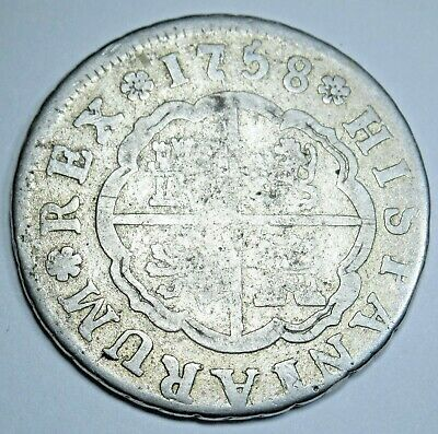 1758 Spanish Silver 2 Reales Piece of 8 Real Old Antique Two Bits Pirate Coin