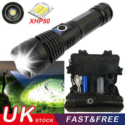 900000Lumens XHP50 Zoom Flashlight LED USB Rechargeable Torch Zoomable Fishing