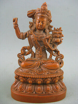 Antique Old Chinese Boxwood Hand carved KwanYin Collectible Statue