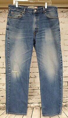 Men's Levi Strauss Co 550 Relaxed Fit 36x32 Destroyed Distressed Denim Jeans