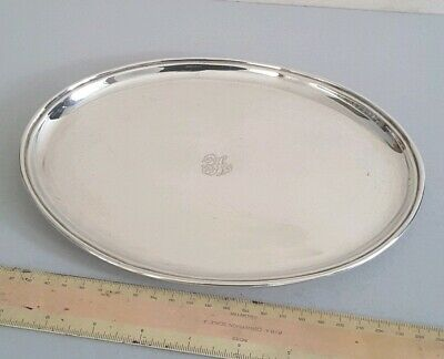 NICE,  OVAL VINTAGE SOLID SILVER DRINKS TRAY / SALVER.     280gms.     LON.1935.