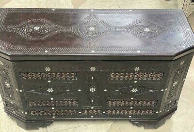 """Antique Carving wood Jewelry box Inlaid Shell (40""""x16"""")"""
